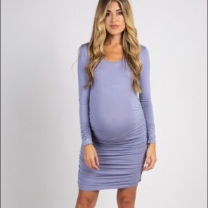 Lavender Ruched Long Sleeve Maternity Dress